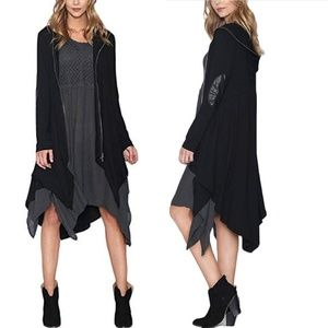Monoreno Hooded Duster Cardigan with Elbow Patch